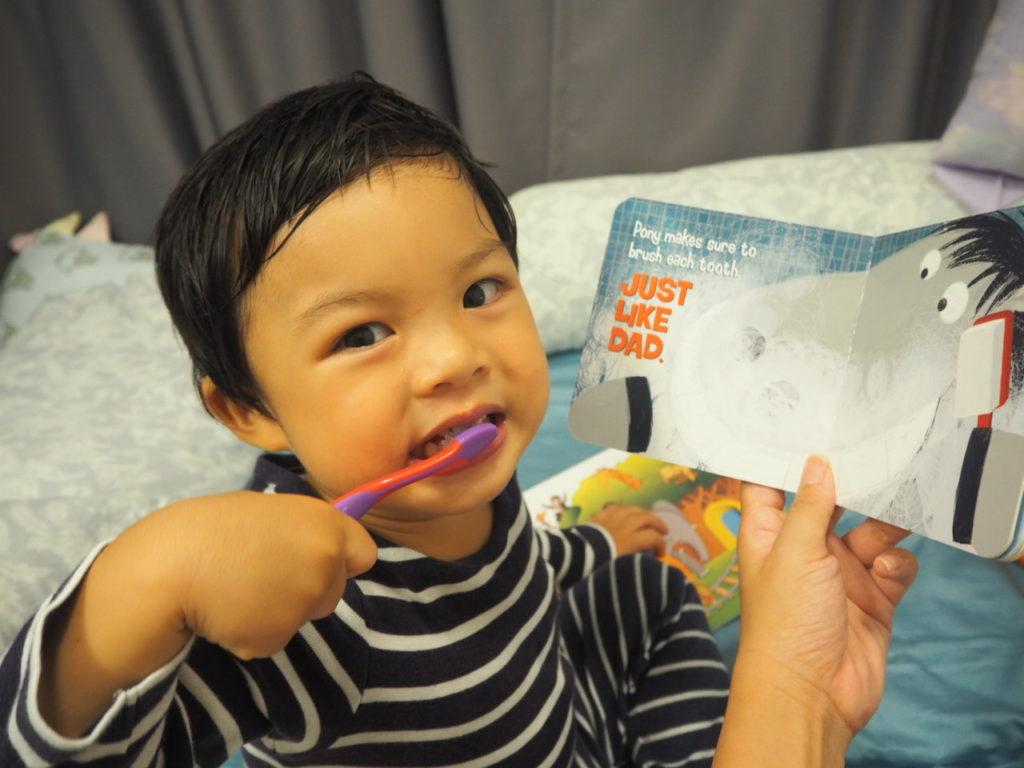 Toddler Brushes Teeth